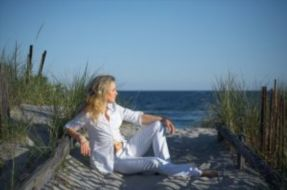 woman at rest on beach
