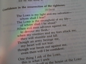 Rainbow falling on scripture