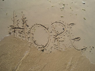 Hope written in the sand