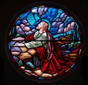 stained glass - Jesus in the garden